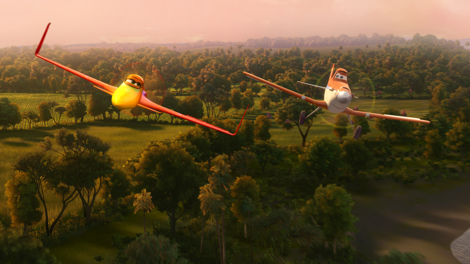 Dusty Crophopper flies with Ishani in Disney Planes