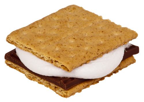 Microwave smores with marshmallows and a melted chocolate bar between two graham crackers