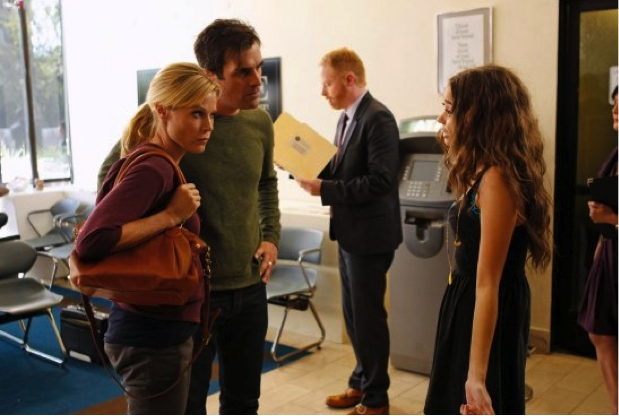 Julie Bowen as Claire, Ty Burrell as Phil, and Sarah Hyland as Haley star in Modern Family as Haley is off to a bumpy start at college.