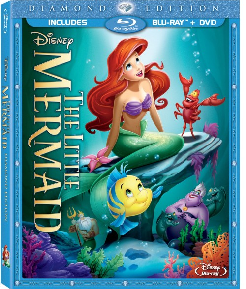Little Mermaid Blu Ray cover art featuring Ariel and friends