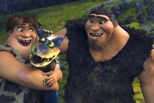 Thunk, voiced by Clark Duke, and Grug, voiced by Nicolas Cage, from The Croods