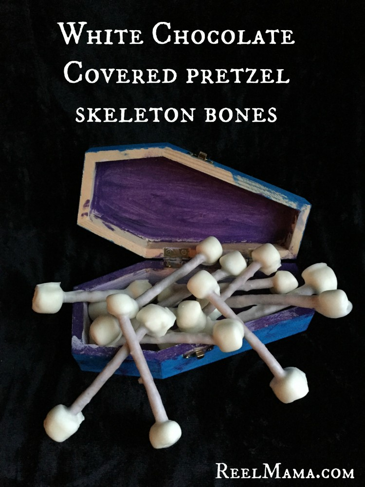 White Chocolate Covered Pretzel Skeleton Bones for Halloween and Day of the Dead