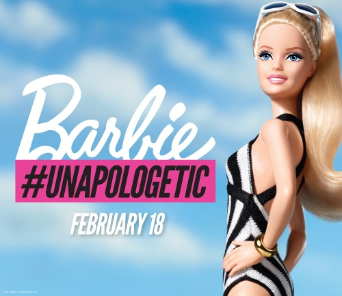 Barbie posing for Sports Illustrated Swimsuit with hashtag #unapologetic