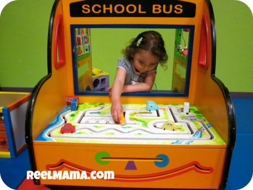 Playing with the school bus