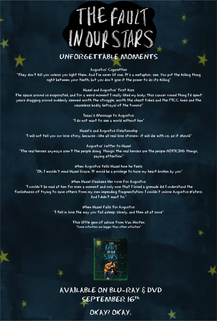 The Fault In Our Stars Best quotes and moments graphic #TFIOS