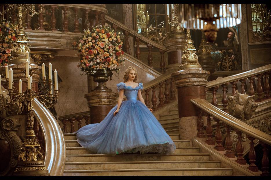 Cinderella's grand entrance at the ball. Disney's live action Cinderella 2015 stars Lily James.