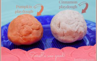 Pumpkin playdough and cinnamon playdough recipe at ReelMama.com ~ Smells so good!