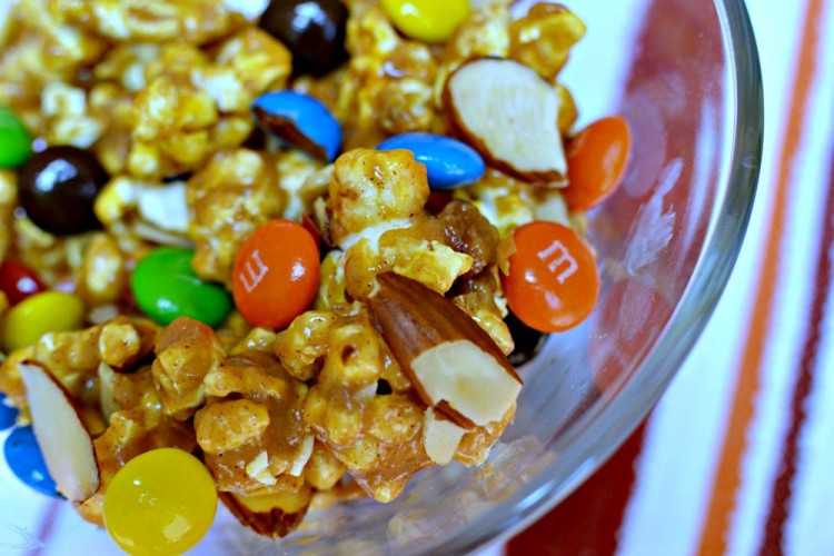 Gooey M&Ms Almond Popcorn recipe from Three Different Directions