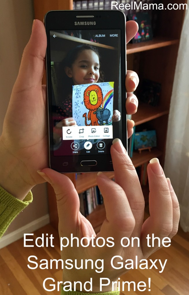 Edit photos on the Samsung Galaxy Grand Prime: Perfect for capturing moments and enjoying programming in your DIY story corner! #DataandAMovie #CollectiveBias #ad