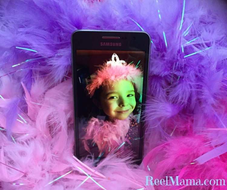 Photo of my little princess with the Samsung Galaxy Grand Prime as we prepared her DIY story corner #DataandAMovie #CollectiveBias #ad