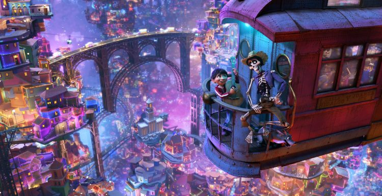 """UNLIKELY DUET -- In Disney•Pixar's""""Coco,"""" aspiring musician Miguel (voice of Anthony Gonzalez) teams up with charming trickster Hector (voice of Gael García Bernal) on a life-changing journey through the Land of the Dead. Directed by Lee Unkrich, co-directed by Adrian Molina and produced by Darla K. Anderson, Disney•Pixar's""""Coco"""" opens in U.S. theaters on Nov. 22, 2017. ©2017 Disney•Pixar. All Rights Reserved."""