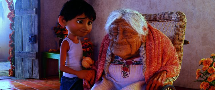 """COCO - FAMILY BONDS - In Disney•Pixar's""""Coco,"""" Miguel (voice of Anthony Gonzalez) has a very special relationship with his great-great-grandmother, Mamá Coco (voice of Ana Ofelia Murguía). Directed by Lee Unkrich and co-directed by Adrian Molina, Disney•Pixar's""""Coco,"""" opens in U.S. theaters on Nov. 22, 2017. ©2017 Disney•Pixar. All Rights Reserved."""