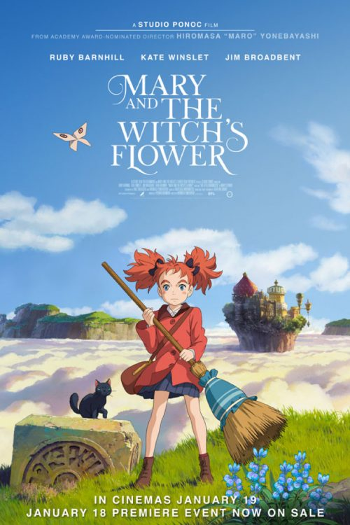 Mary and the Witch's Flower movie poster. Japanese anime from Studio Ponoc.