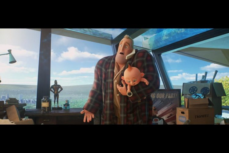 Mr. Incredible as a stay at home dad in The Incredibles 2