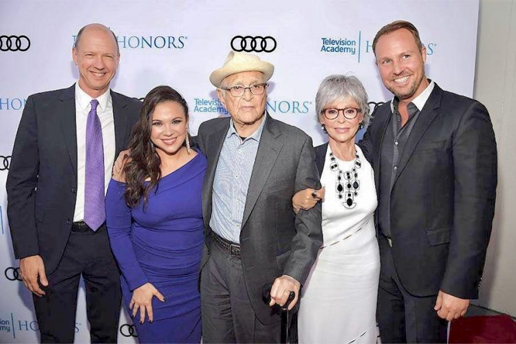 One Day at a Time creators Mike Royce and Gloria Calderon Kellet (left) with Norman Lear (center) and Rita Moreno (right). Photo: IMDB.