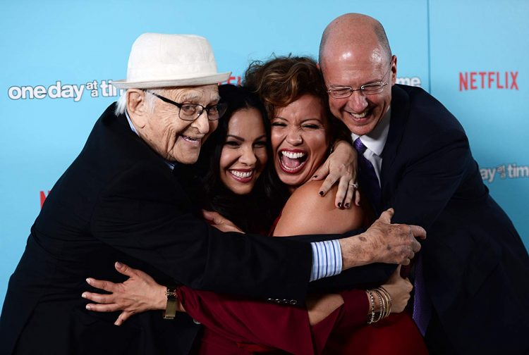 Norman Lear, Gloria Calderon Kellet, Justina Machado, and Mike Royce, the creative forces behind One Day at a Time on Netflix