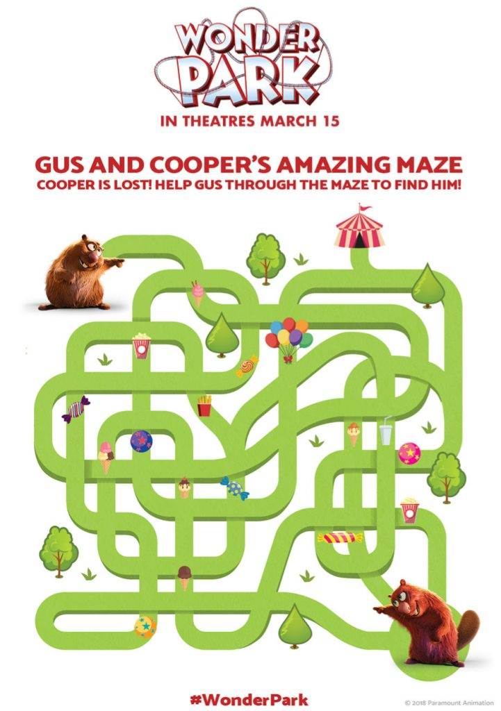 Wonder Park Amazing Maze activity sheet