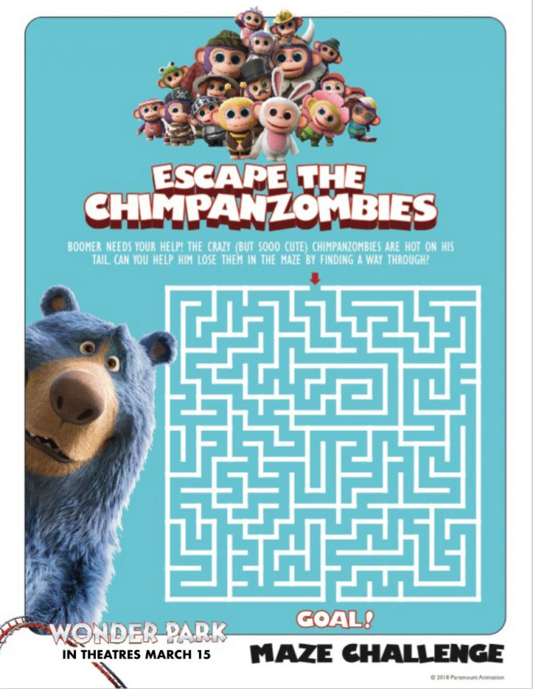 Wonder Park Escape the Chimpanzombies activity sheet