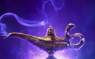 Aladdin movie poster featuring the magical lamp